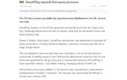 Svama Nautica rappresenta SmartPlug in Italia